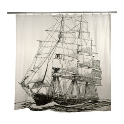 "Thomas Paul - Ship Shower Curtain - The hand sewn Thomas Paul Ship shower curtain features hand screened prints on 100% flax.  The shower curtain features one of our favorite themes: nautical imagery. The design features a large ship sailing the rough seas. The curtain measures 72"" x 72"". The print adds a nautical accent to your bathroom.   About the Artist: After graduating from NYC's famed FIT, Thomas Paul started his career as a colorist and designer at a silk mill. Eventually, he leveraged his knowledge of silk materials & print to launch a neckwear line of his own. Over time, Paul loved the idea of applying menswear print and design into a collection of home decor, which is what we see in his goods today. His background has embedded in him a passion for quality production techniques. Even as his brand grows, he continues to ensure all of his prints are hand screened - a slow, detailed process that results in each piece being a unique piece of artwork. Paul also pushes the envelope in terms of bold prints and hand ground materials.       ""My vision for the thomaspaul brand has always been about combining classic design motifs from different periods in textile design. Incorporating anything from an 18th century Damask pattern to a camouflage print. The unifying thread between so many different styles is to change the designs so they are updated for today. For me this means changing the scale, so they are always bold, and reducing down the colors and details, so most designs are reduced to two or three colors and become very flat, bold prints. I am always looking to vintage fabrics and motifs for inspiration and new ideas, but always try to update these to look good for today."" - Thomas Paul   Product Details:"