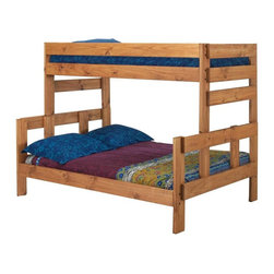 Chelsea Home - 80 in. Twin Over Full Bunk Bed - NOTE: ivgStores DOES NOT offer assembly on loft beds or bunk beds.. Includes slat packs. Mattresses not included. Rustic style. Metal brackets are used to connect the rails to the headboard and footboard. Rails include a 1.25 in. cleat which is glued and screwed to the rail for extra strength to support the mattress foundation. Exceed all safety standards of the consumer product safety commission. Constructed for strength and durability. Can hold up to 400 lbs. of distributed weight. Warranty: One year. Made from solid pine wood. Ginger stain finish. Made in USA. Assembly required. Distance between top and bottom bunk: 34 in.. 80 in. L x 56 in. W x 61 in. H (180 lbs.). Bunk Bed Warning. Please read before purchase.Warning: Falling hazard, bunk beds should be used by children 6 years of age and older!