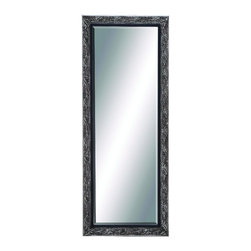 Benzara - Attractive Antique Silver Full Length Rectangle Wall Mirror Floral Decor - Attractive classic antique silver full length rectangle wood wall mirror floral design living and dining room decor