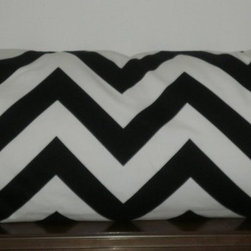 Pillow Covers #1 - Decorative Body Pillow Cover - 20 X 54 inch Black and White Chevron