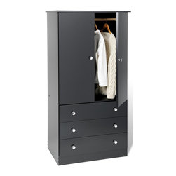 Prepac - 3-Drawer Wardrobe - Includes a tipping restraint bracket. Two door cabinet and hanging rod. Chrome colored plastic knobs. Removable drawers run smoothly on nylon glides with built-in safety stops. Sides, top, drawer fronts and kickers made from 0.63 in. thick laminated composite board. MDF drawer components and backer. Warranty: Five years. Black finish. Made in North America. Wardrobe: 27.5 in. W x 20 in. D x 35.75 in. H. Drawer: 26 in. W x 12.5 in. D x 4 in. H. Overall: 30 in. W x 20.5 in. D x 60 in. HSay goodbye to your overcrowded closet with the Edenvale three drawer wardrobe. Its clean, minimalist style makes it an easy addition to any small bedroom. So dont clutter up your bedroom, keep it simple with this efficient and affordable wardrobe.