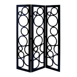 Benzara - Room Dividing Screen With Black Circle Frame Pattern - A modern and contemporary dividing screen like this is a delightfully unique addition to any room in the home. Originating from China thousands of years ago, room dividing screens spread throughout all the ancient world and into the 21st century. Made with solid black wood, this screen features a contemporary circle patter that almost feels fun and bubble like.
