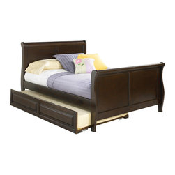 Atlantic Furniture - Bed with Trundle Sleigh Platform Bed Matching Footboard / Raised Panel Trundle - Designed for Sleigh Bed collection by Atlantic Furniture, this bed offers wonderful design for your kid's bedroom with its elegant sleigh style footboard and headboard. Available in Twin or Full size with Trundle bed, providing extra place to sleep.