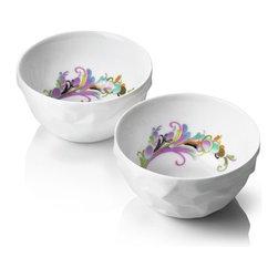 """Menu - Design by Us Raw Diamonds Breakfast Bowls (Set of 2) - Raw Diamond is made of porcelain of the highest quality, fired at 1320 degrees Celsius, ensuring strength, durability, and an easy to clean surface. Features: -Part of the Design by Us collection. -Constructed of the highest quality porcelain. -The crockery is made with multiple facets. -It has matte surface, contrasting the sparkling glaze on the inside. -Easy to clean surface. -Dimensions: 5"""" H x 6"""" W x 6"""" D."""