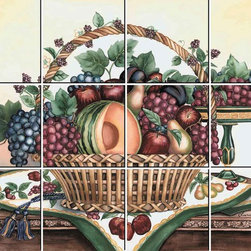 IdeaStix - Fruit Basket 12-Piece Mural IdeaStix Peel and Stick - IdeaStix Mural transforms an ordinary tiles and such into beautiful art decorations.  Made from proprietary rubber-resin, 12-Piece Mural Premium Peel and Stick Tile Decor is sized for 4.5 x 4.5 inch tiles and offers a quick and easy solution of having a great Tile Mural in kitchen or bath/shower.  With water/heat/steam-resistant, nontoxic, washable, removable and reusable features, it is ideal for kitchen backsplash and bath/shower tile cecoration and suitable for smooth and non-porous tile surfaces in hot, wet and humid areas.  Surface can be washed with most household cleaning products.