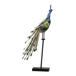 Cyan Design - Cyan Design Peacock on Stand #1 Sculpture X-23820 - This Cyan Design sculpture, Peacock on a Stand #1, is a beautiful blend of wood, metal and color. The industrialized elements are given a softened, more natural look through the use of bold jewel tones. The peacock has been adorned in shades of sapphire and emerald, completing the appeal.