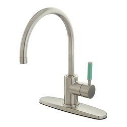 """Kingston Brass - Green Eden Single Lever Handle Kitchen Faucet with 8"""" Deck Plate, Satin Nickel - Characteristic of the Green Eden series with its Neoprene accents and sleek contemporary lines, this ribbon style Gooseneck kitchen faucet will be a welcome addition to any kitchen where adding color and a youthfull flair are essential to create the specific decor style you desire, its Gooseneck spout gives you plenty of clearance and its single handle operation makes it easy to operate at any age, This faucet is also available in Polished Chrome.can be installed in a 1 or 3 hole application.; High Quality Brass Construction; Fine Artistic Craftsmanship; Green Neoprene handle for a great grip and easy clean-up; Drip-free Ceramic Cartridge System; Matching Accessories Available; Material: Brass; Finish: Satin Nickel; Collection: Green Eden"""