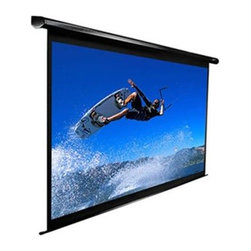 """Elitescreens - 110"""" Diag. 16:9 Electric Projection Screen - The VMAX 110UWH2 is a 110 diag 16:9 formatted electric screen with matte white screen material and a black case includes an IR remote and a RF remote includes 12v trigger function mounting brackets sold separately reference bracket model # LB6- B-U ."""