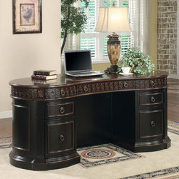 Coaster - Black / Cherry Traditional Desk - This elegant shaped executive home office group boasts a gorgeous two tone finish, and features 7 drawers in the large oval executive desk, with a keyboard drawer and 2 cabinet drawer and 2 cabinets all with full extension drawer glides. Large bookcase features 2 file cabinet drawers and each bookcase has the option of being put together to build a library wall.