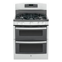 "GE - JGB870SEFSS 30"" Freestanding Gas Double Oven Gas Range with 5 Sealed Burners  4. - A new gas range or electric range should meet all your cooking needs for years to come from warming a simple pan of soup for one person to handling a large dinner party or holiday meal for the whole family Plus your stove should look great in your ki..."