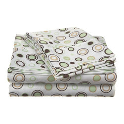 Microfiber Circles Sheet Set - Twin - Taupe - These Microfiber Sheets offer an affordable alternative to high thread count Egyptian Cotton sheets. Microfibers are 100 times thinner than a strand of hair making the weave impenetrable to allergens and dust mites. This Sheet set features a lively circle pattern to brighten up your bedroom. Each set comes with one fitted sheet, one flat sheet, and two pillowcases (one for Twin and Twin XL).