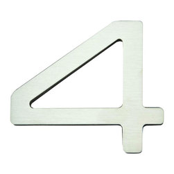 Atlas - Paragon House Number 4 - PGN4-SS - Manufacturer SKU: PGN4-SS. Stainless steel surface. Weather resistant. Peel-n-stick recycled backing. Lacquered for durability. Dense polyfiber backing. Projection: 0.75 in.. Made from metal. 4 in. L x 4.75 in. W