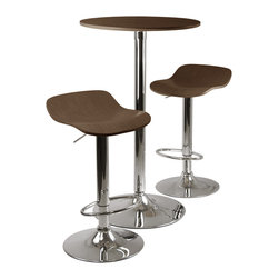 Winsomewood - Kallie 3-Piece Pub Table and Stools Set In Cappuccino - Bring home all the ambience of a stylish cafe. This sleek, three-piece, Cappuccino-colored set includes an elegant tall table and two sophisticated stools, with gleaming metal bases topped with rich wood veneer. The adjustable swooping seats are designed to add comfort — and some lovely swivel — to your dining experience.