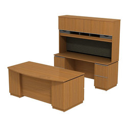 """BBF - Bush Milano 2 3-Piece 72"""" Bow Front Desk Set in Golden Anigre - Bush - office Sets - MI2023GA - Welcome to your new office. For doing your job well you've earned the freedom and means to express your personal taste. Milano 2 appeals to your practical side and looks good doing it. The Bush Milano 2 Line Harvest Cherry or Golden Anigre 72""""W Double Pedestal Desk functional bow front extends the desk's working space and provides a comfortable place for visitors to sit. Desk pedestals include box/box/file and file/file drawer combinations. Holds letter- legal-or A4-size files. Full extension ball bearing slides allow easy access to back of drawers. The Milano 2 72""""W Double Pedestal Kneespace Credenza fits between two cabinets. Two lockable file drawers hold all-size files. Tall 72""""W Overhead adds cabinets to accommodate all needs. Flexible rubber strip on bottom of overhead allows convenient wire management concealing unsightly lines and cables. Flip-up doors with lid-stay hinges remain open and in place. Contemporary extruded aluminum door pulls are simple and attractive. Full-width fabric covered tack board holds notes pictures messages and more. Work-in-progress storage compartments are open and accessible with wooden paper storage trays. Accepts task lighting for integrated visual appeal. Diamond Coat top surface resists scratches abrasions and stains. Durable edge banding resists collisions and dents. Fine-tune your office suite to include electronics printers and more. All can be stowed out of sight. Includes Bush limited Lifetime warranty."""