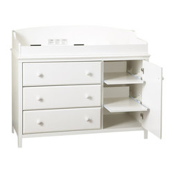 South Shore - South Shore Cotton Candy Three Drawer Wood Changing Table in White - South Shore - Baby Changing Tables - 3250333 - Look to the future with the Cotton Candy 3 Drawer Changing Table. This transitional country styled changing table can be used all throughout childhood thanks to the removable changing station that turns it into a regular chest of drawers. Featuring 3 drawers and 2 adjustable shelves within the door this changing table/chest of drawers is the perfect addition to any bedroom with its gorgeous Pure White finish.