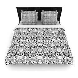 """Kess InHouse - Mydeas """"Fancy Damask Black & White"""" Gray Cotton Duvet Cover (Queen, 88"""" x 88"""") - Rest in comfort among this artistically inclined cotton blend duvet cover. This duvet cover is as light as a feather! You will be sure to be the envy of all of your guests with this aesthetically pleasing duvet. We highly recommend washing this as many times as you like as this material will not fade or lose comfort. Cotton blended, this duvet cover is not only beautiful and artistic but can be used year round with a duvet insert! Add our cotton shams to make your bed complete and looking stylish and artistic!"""