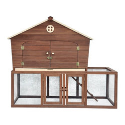 Merry Products - Merry Products Ranch House Chicken Coop - PH0020010802 - Shop for Houses from Hayneedle.com! Choose the Merry Products Ranch House Chicken Coop for happy and productive hens! The roomy interior comfortably houses up to three hens and includes a large nesting box to lay eggs. The wood ramp leads to the large enclosed run providing easy access to fresh air. You ll value the removable tray which collects waste and makes for easy cleanup. Four doors and a hinged roof provide easy access. About Merry ProductsCapitalizing on their expertise in wood construction Merry Products offers a variety of quality wood products including outdoor furniture garden and decorative furniture garden-use woodwork and an exclusive line of wooden pet houses. Merry's skillful craftsmen uphold strict standards when kiln-drying and staining their wood products to enhance the durability and beauty of every piece.