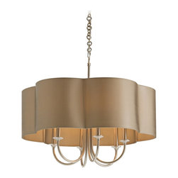 "Arteriors Home - Contemporary Arteriors Home Rittenhouse 6-Light Chandelier - This contemporary chandelier makes an appealing addition to your updated decor. The Rittenhouse is a striking creation with subtle curves and a contoured oval shade. Perfect for a formal dining room or a fashionable seating area. Silver finish. Olive grey shade. Takes six 60 watt bulbs (not included). 26"" wide. 22"" high. Canopy is 6"" wide. Hang weight 20lbs.  Silver finish.   Olive grey shade.   Takes six 60 watt bulbs (not included).   26"" wide.   22"" high.   Canopy is 6"" wide.   Hang weight 20lbs."