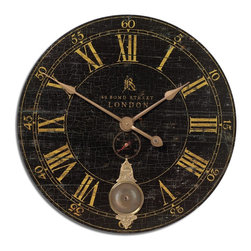"Old World London Black Crackle Oversize Gallery Wall Clock 30"" - *Laminated clock face with a weathered crackled look, cast brass details and internal pendulum."