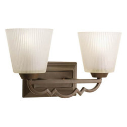 Progress Lighting - Meeting Street Roasted Java Two-Light Bath Fixture with Etched Ivory Pleated Gla - - Two-light bath  - Two Light Bath  - Glass: Etched ivory pleated  - Height From Center Box: 6.31-Inch  - Branding: Thomasville Lighting  - Finish/Color: Roasted Java  - Product Width: 15.75  - Product Height: 8.75  - Product Height: 8.75  - Product Weight: 7  - Product Dept: 15.75  - Product Extension: 6.87  - Material: Metal and Glass  - Bulb NOT included Progress Lighting - 942023-102