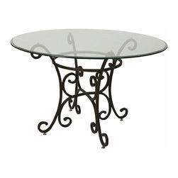 """Pastel Furniture - Pastel Magnolia 48 Inch Round Bevel Glass Dining Table in Autumn Rust - 48 round 1"""" bevel glass top"""