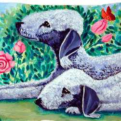 Caroline's Treasures - Bedlington Terrier Fabric Standard Pillowcase Moisture Wicking Material - Standard White on back with artwork on the front of the pillowcase, 20.5 in w x 30 in. Nice jersy knit Moisture wicking material that wicks the moisture away from the head like a sports fabric (similar to Nike or Under Armour), breathable performance fabric makes for a nice sleeping experience and shows quality.  Wash cold and dry medium.  Fabric even gets softer as you wash it.  No ironing required.