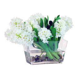 Winward Designs - Hyacinth In Glass W/Rock Flower Arrangement - Hyacinths are the harbingers of spring, but there's no reason you can't enjoy a permanent display year-round. This chic display nestled in a modern glass vessel with river rocks is perfect for a modern coffee table or dining room. And just think, you'll never have to change the water!