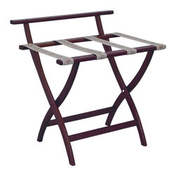 """Wooden Mallet - Luggage Rack w Tapestry Webbing in Dark Red M - Our unique """"Wall Saver"""" feature prevents costly wall damage. Has multiple uses when it doubles as a breakfast tray holder or blanket stand. Folds flat and is easily stored in a closet or against a wall when not in use. Four 2 in. woven straps support heavy suitcases. Graceful, curved legs add a designer flair. Rated to hold suitcases up to 100 lbs.. Built using solid oak construction and state-of-the-art finish for heavy use and lasting beauty.  Made in the USA. No assembly required. All Wooden Mallet products are warranted for 1 year against defects in materials and workmanship. Overall: 29.5 in. L x 23.75 in. W x 18 in. H (7 lbs.). Open: 29.5 in. L x 23.75 in. W x 18 in. H. Closed: 29.5 in. L x 23.75 in. W x 4.5 in. HGive your guest room the feeling of a four star hotel with this beautiful luggage rack. Built using solid oak and sturdy webbing, even the heaviest suitcases are easily supported by the four 2 in. wide woven straps. Our unique """"Wall Saver"""" feature prevents costly wall damage. This luggage rack has multiple uses when it doubles as a breakfast tray holder or blanket stand. These luggage racks fold and unfold easily. Take it out for guests, and then fold it up for easy storage. It is also a great in the master bedroom for packing suitcases for business trips or vacations."""