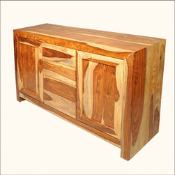 Contemporary Solid Wood Storage Buffet 4 Drawer Sideboard Cabinet - Celebrate the beauty of fine hardwood with our Contemporary Solid Wood Storage Buffet 4 Drawer Sideboard Cabinet.