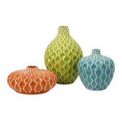 Imax Corp - Agatha Ceramic Vases - Set of 3 - Set of 3 ceramic vases with bright colors and urbane design