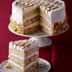 "Horchow - Bananas Foster Cake - This confectionery masterpiece with a woven whipped cream and caramel top has three layers of banana nut cake filled with more caramel and caramel whipped cream, then trimmed with walnut bits. From Annie Pies Gourmet Bakery. 7""Dia. Serves 8. Please...."