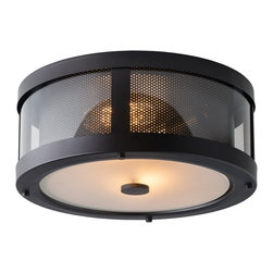 """Feiss - Rustic - Lodge Feiss Bluffton 13 1/4"""" Wide Bronze Ceiling Light - This handsome oil rubbed bronze flushmount ceiling light is created in the trendy Mountain Luxe style a modern update to rustic designs. The round fixture features two bulbs behind a perforated wrap that represents a classic fireplace screen and a soft white glass bottom diffuser. Upgrade your decor with this beautiful Murray Feiss lighting accent. Mountain Luxe style ceiling fixture. Oil rubbed bronze finish. Steel aluminum and glass construction. Perforated diffuser. Clear glass. Takes two maximum 60 watt Edison or equivalent bulbs (not included). UL-rated for damp locations. 13 1/4"""" wide. 5 3/4"""" high.  Mountain Luxe style ceiling fixture.  Oil rubbed bronze finish.  Steel aluminum and glass construction.  Perforated diffuser.  Clear glass.  Takes two maximum 60 watt Edison or equivalent bulbs (not included).  Damp location rated only.  From the Feiss lighting collection.  13 1/4"""" wide.  5 3/4"""" high."""