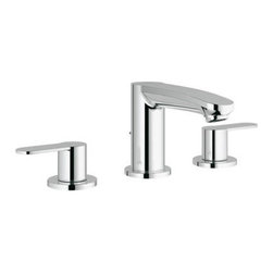 """Grohe - Grohe 20 209 002 Eurostyle Cosmo Widespread Bathroom Sink Faucet in Chrome - Grohe 20 209 002 Eurostyle Cosmo Widespread Bathroom Sink Faucet in ChromeUtilizing an astute mix of simple curves and flowing forms, Eurostyle Cosmospolitan offers a unique design proposal for the modern bathroom. The distinctive keyhole-shaped lever handle is pitched at the inviting angle of seven degrees on the lavatory centerset. This subtle incline enhances the user experience and facilitates interaction. Grohe 20 209 002 Eurostyle Cosmo Widespread Bathroom Sink Faucet in Chrome, Features:• Features the smooth, precise action of Grohe Silkmove ceramic technology for lifelong, effortless water control• GROHE WaterCare - 30% Water Savings• 5 1/8"""" Spout Reach• 4 1/8"""" Spout Height• Solid Brass Construction• ADA CompliantGrohe Specification SheetGrohe Limited Lifetime Warranty"""