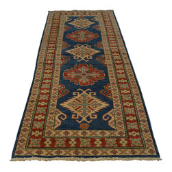 3'x9' Hand Knotted 100 Percent Wool Runner Navy Kazak Oriental Rug Sh18272 - Our Tribal & Geometric hand knotted rug collection, consists of classic rugs woven with geometric patterns based on traditional tribal motifs. You will find Kazak rugs and flat-woven Kilims with centuries-old classic Turkish, Persian, Caucasian and Armenian patterns. The collection also includes the antique, finely-woven Serapi Heriz, the Mamluk Afghan, and the traditional village Persian rug.
