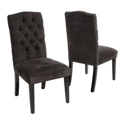 Great Deal Furniture - Clark Tufted Back Dark Gray Fabric Dining Chairs (set of 2) - The Clark dining chairs are beautiful, have sturdy hardwood construction, and have fully cushioned seat and back, let alone how comfortable they are. They are easy to assemble and will look great as side chairs in any dining room. The Clark dining chairs is a great addition to any home.