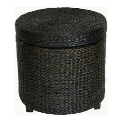 Oriental Unlimited - Rush Grass Storage Footstool with Dark Stained Wooden Feet (Natural) - Color: Natural. Abundant, sustainable, beautiful woven rush grass. Wood frame and wood feet with cotton lining. Great practical storage -  foot stool or drink table. Shown in Black. 17.5 in. Dia. x 17 in. HSimple, solid, and beautiful, this round shaped small foot stool has lots of uses and is great to look at. Made from rattan style rush grass woven on wood frames, with dark stained wooden feet. Cotton fabric lines the extra thick lid and body of this foot stool, providing a great place to store sewing, toys, or shoes- anything! At 17 inches tall, this piece is about the height of an average coffee table.