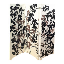 Bassett Mirror - 3 Panel Screen - White - Black Finish - Adorned with Gingko leaf design motif. Measures: 72 in. W x 72 in. H.