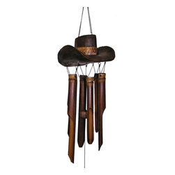 Cohasset - Cohasset Cowboy Hat 15 Inch Wind Chime Multicolor - CH154 - Shop for Windchimes Bells and Gongs from Hayneedle.com! Howdy pardner! The Cohasset Cowboy Hat 15-Inch Wind Chime will make a fun Western accent on your patio or porch. The cowboy hat hanger is carved from solid coconut wood burnt and then hand-painted by artists in Bali. The six hand-tuned bamboo tubes play a range of bright musical sounds when the breeze blows. This environmentally friendly wind chime is handmade using coconut and bamboo - two types of wood that are easily sustainable.The Cohasset Cowboy Hat Wind Chime is an exclusive product of Cohasset Imports resulting from collaboration between Balinese artists and Cohasset designers. Please note that because this bamboo chime is handmade it may have subtle differences from the chime shown in the image. Each chime is a unique work crafted by artisans for your admiration and enjoyment.Wind Chime Length: The length of a wind chime is measured by the overall length of the chime (not tube length) - hanging hook to the end of the sail. This windchime is 15 inches long overall.About CohassetSince 1994 Cohasset Imports has been importing unique hand-crafted products from small villages in Bali. The Balinese families that make Cohasset's specialty wind chimes wooden puppets candle lanterns coat hooks and other unique products have been making similar items for generations. Their craftsmanship combined with design collaboration with Cohasset results in exclusive products of exceptional detail. In addition to their wood-carved products Cohasset also launched a hand-painted poly resin line in 2004. Cohasset headquarters is located in Lakewood Wash.