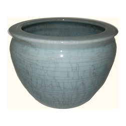 Chinese Porcelain Fish Bowl / Planter w/ Celadon Crackle - Available in 8 different sizes, this classic porcelain fish bowl planter from China is artfully hand-finished in a light Celadon crackle glaze.   Our artisans use only the highest quality porcelain, fire glazed inside and outside for added strength. Add an elegant design statement with one of our vase stands available in a wide assortment of sizes (including pedestal), styles and wood types.  Remember to use the bottom diameter size when selecting your stand.