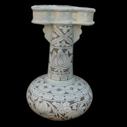 """Chinese Off White Scenery Engraved Ceramic Vase - Dimensions: Dia 9"""" x h15"""""""