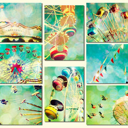 Carnival Photos Nursery Art, Turquoise, Ferris Wheel by Bomobob - This isn't just one picture; it's a set of eight, and it's just so awesome. I love the color scheme, and the theme is joyful and unexpected for a nursery.