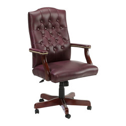 Boss Office Products - Boss Office Products Traditional Italian Leather Armchair-Burgundy Leather - Boss Office Products-Office Chairs-B915BY-Professionalism and style come to your office with the Boss Traditional Italian Leather Office Chair. The variety of ergonomic features on this seat ensure the best in comfort and back support. Sit back comfortably and get the job done.