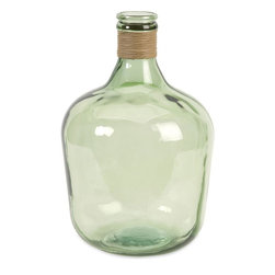 """Imax Worldwide Home - Courbet Recycled Glass Jug - Reserving enough energy to light a 100 watt bulb for approximately four hours, the Courbet glass jug made from recycled glass, is a beautiful Earth-friendly accent.;Features: Materials: 100% Recycled Glass;Country of Origin: Spain;Weight: 8.18 lbs;Dimensions: 16.50""""h x 10.50""""w x 10.50"""""""
