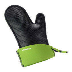 Kitchen Grips Chef's Mitt Large Lime - The Kitchen Grips extendable cuff oven mitt is the perfect way to protect your hands. The oven mitt is heat resistant protecting your hands from hot and cold thanks to the soft and pliable FLXaPrene™ material. FLXaPrene™ is a non-porous material and prevents bacteria growth. The mitt will protect your hands from steam and liquid burns even when wet.