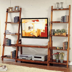 Bernards - Pecan Finish Ladder TV Stand ONLY - Pecan Finish Ladder TV Stand with 2 Shelves. Does not include side ladders