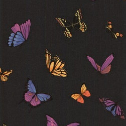 FlutterBy Wallpaper: Black - Julien McDonald's colorful butterfly design looks particularly stunning against the black backdrop of this wallpaper.