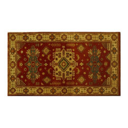 Hand Knotted 100% Wool 3'X5' Kazak With Geometric Design 100% Wool Rug SH6152 - This collections consists of well known classical southwestern designs like Kazaks, Serapis, Herizs, Mamluks, Kilims, and Bokaras. These tribal motifs are very popular down in the South and especially out west.