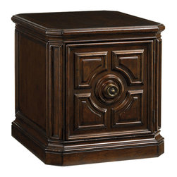 Lexington - Lexington Kilimanjaro Crawford Storage Lamp Table 552-950 - The lamp table offers generous concealed storage with one adjustable shelf behind an intricately carved door