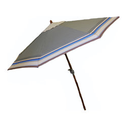 None - 9-Foot Wood Green Olive Umbrella - This 9-Foot Wood Green Olive Umbrella features a one touch easy tilt feature. This umbrella fits best into a patio dining table and includes 8 Wooden ribs for extra support and durability.