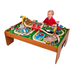 KidKraft - Ride Around Town Train Set With Table by Kidkraft - With our exciting Ride Around Town Train Table and Set, the young conductors in your life have an entire busy community at their fingertips! The train set will provide kids with hours of imaginative play while the table helps keep playtime off the floor and closer to eye level.